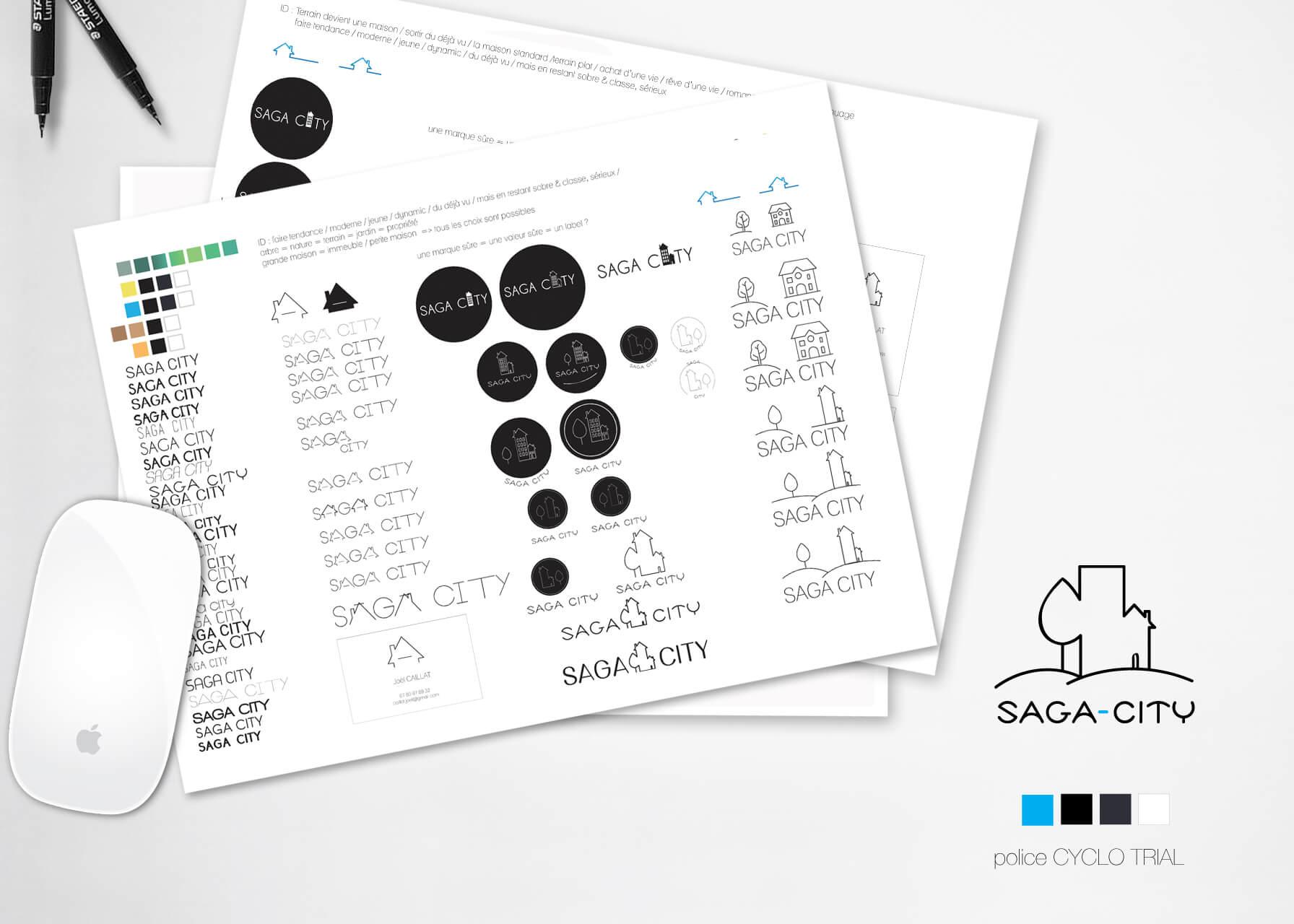 planches recherches charte graphique SAGA-CITY
